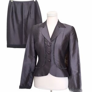 Kay Unger steel gray pure silk skirt suit